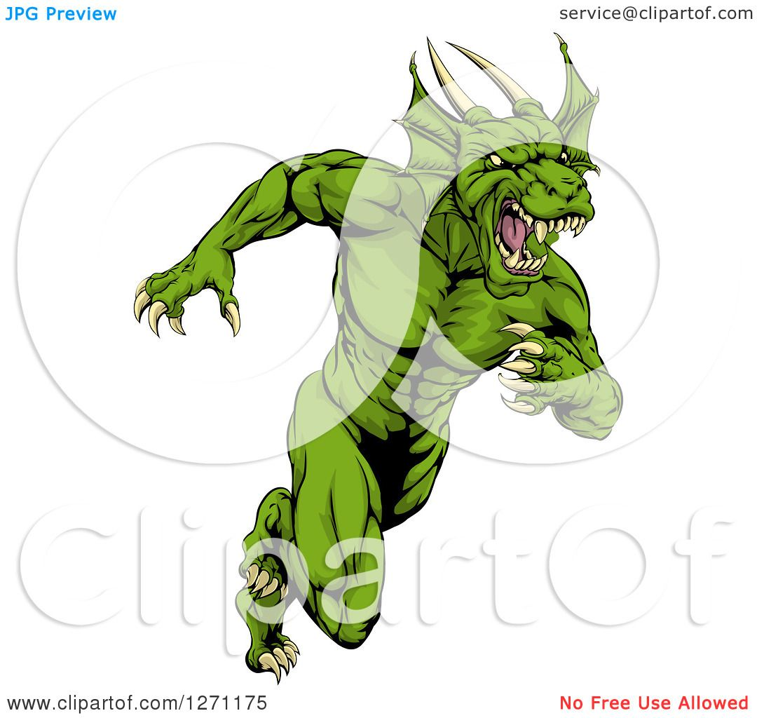 Clipart of a Muscular Aggressive