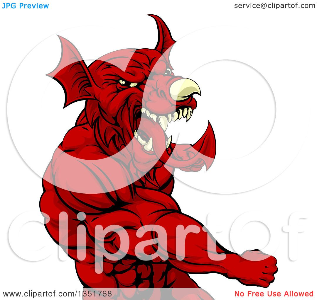 Clipart of a Muscular Fighting Red Welsh Dragon Man Punching ...