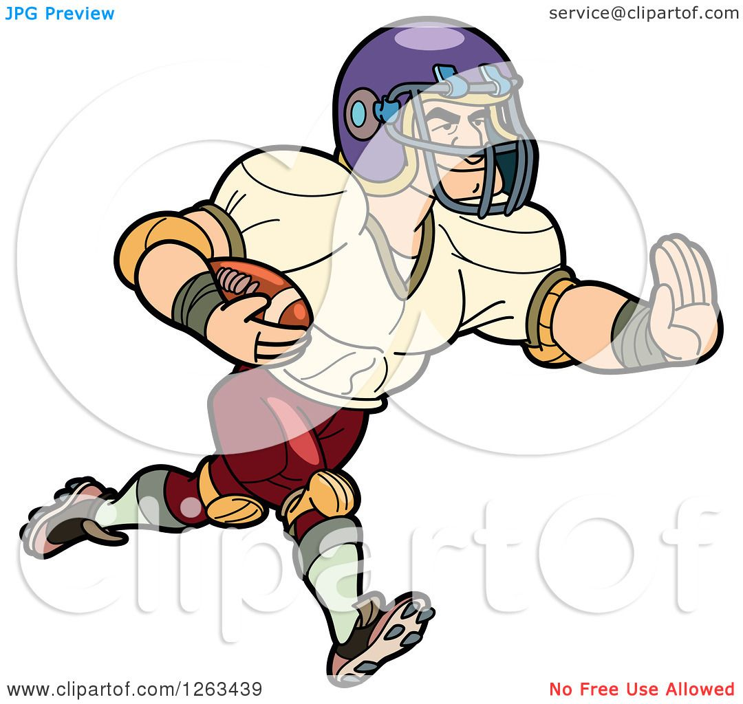 Clipart of a Muscular White Male American Football Player ...