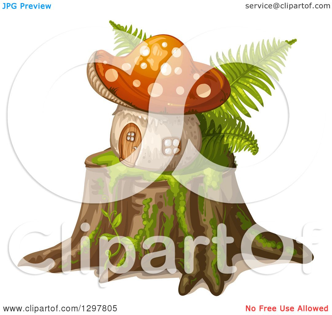 Clipart of a Mushroom House on a Tree Stump - Royalty Free Vector ...