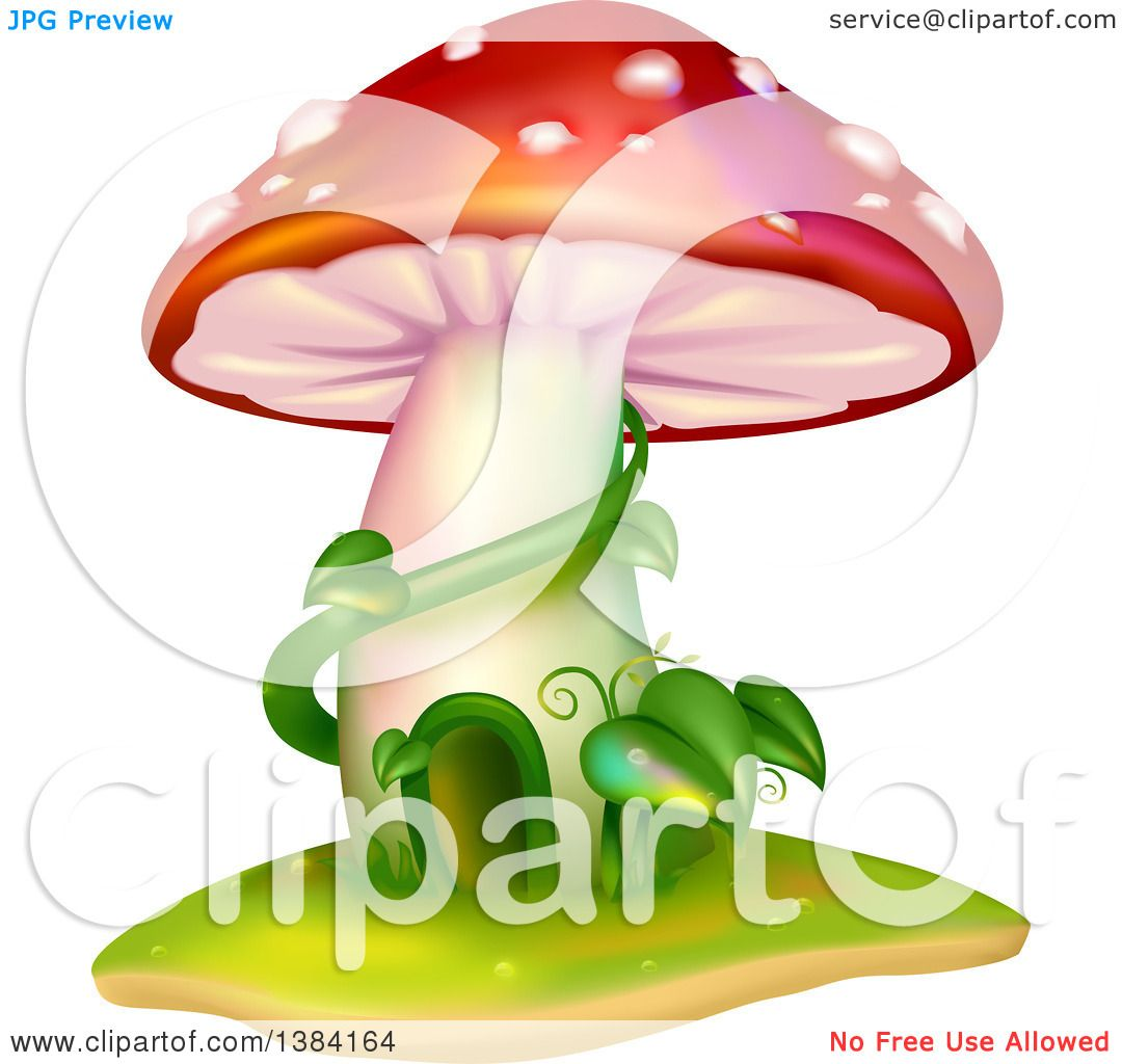 Clipart of a Mushroom House with Vines - Royalty Free Vector ...