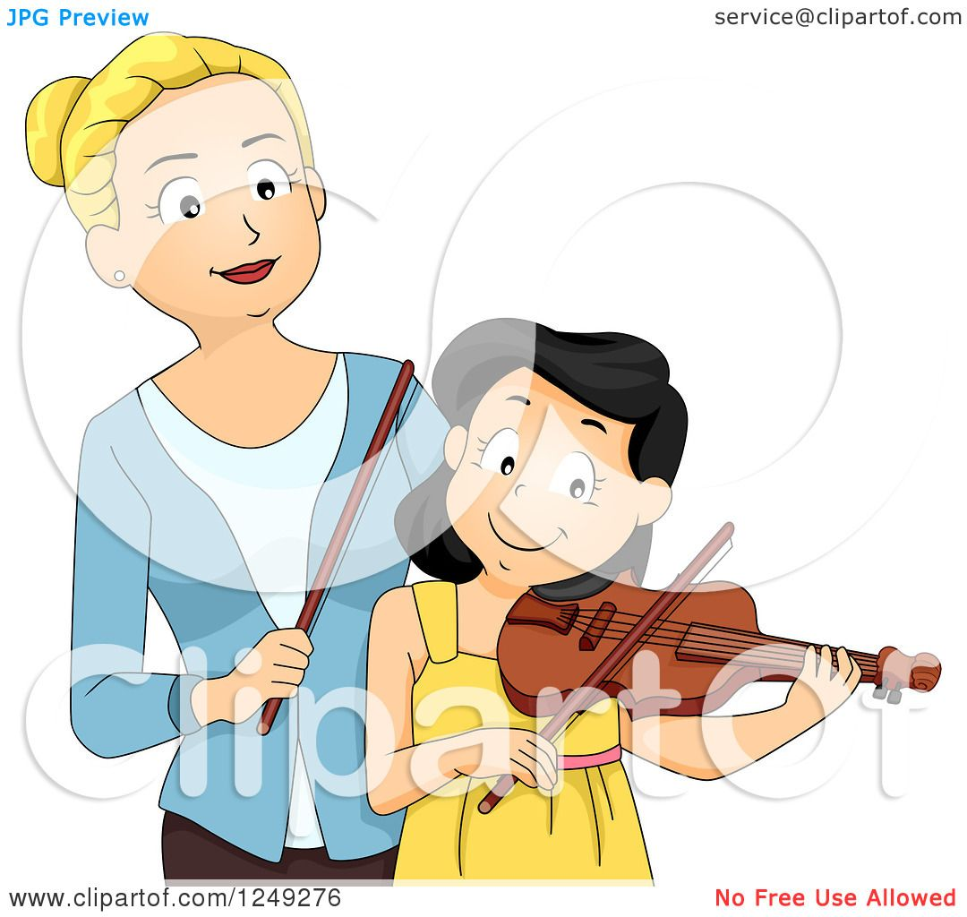 Clipart of a Music Instructor Teaching a Girl How to Play a Violin ...