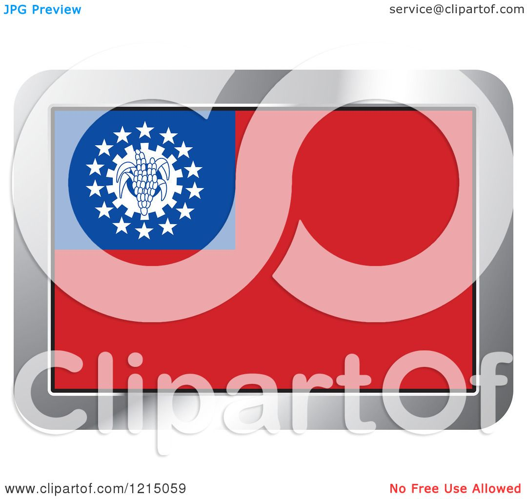 Clipart of a Myanmar Flag and Silver Frame Icon - Royalty Free Vector Illustration by ...