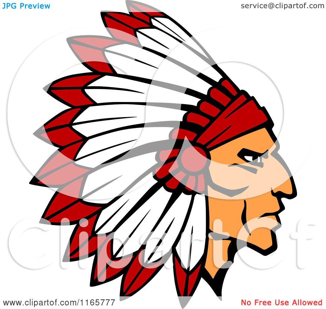 Clipart Of A Native American Brave With A Red And White