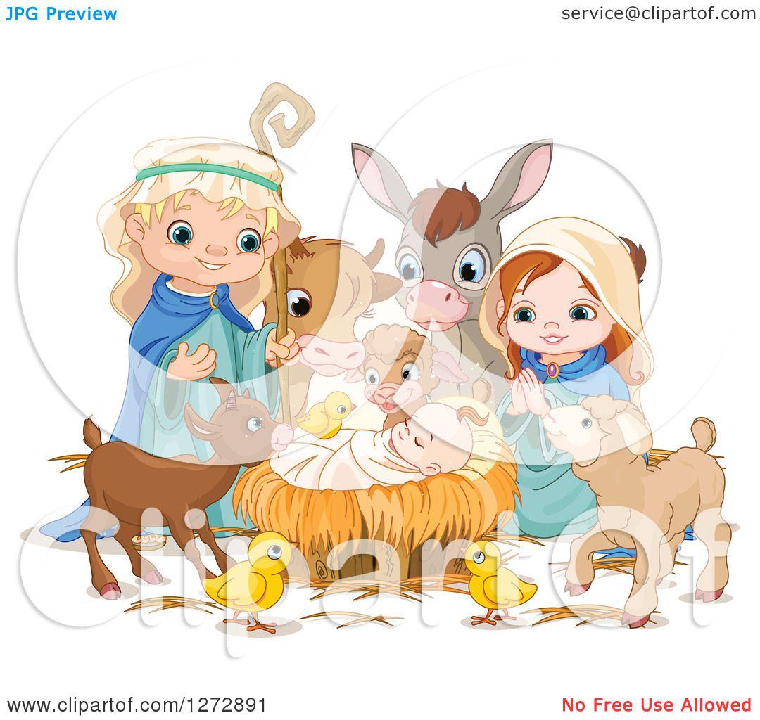 Clipart of a Nativity Scene of Baby Jesus, Joseph, Mary and Cute ...