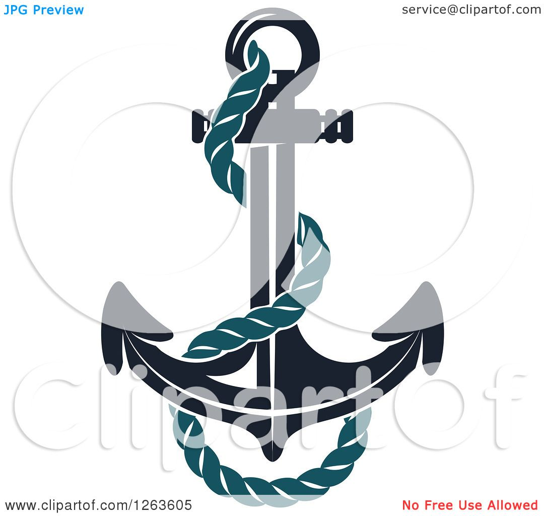 Clipart Of A Nautical Navy Blue Anchor