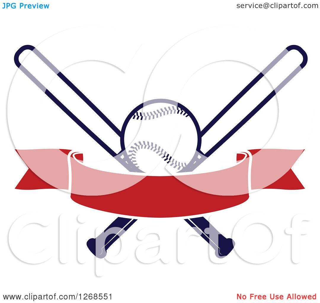 Clipart of a Navy Blue Baseball and Crossed Bats with a ...