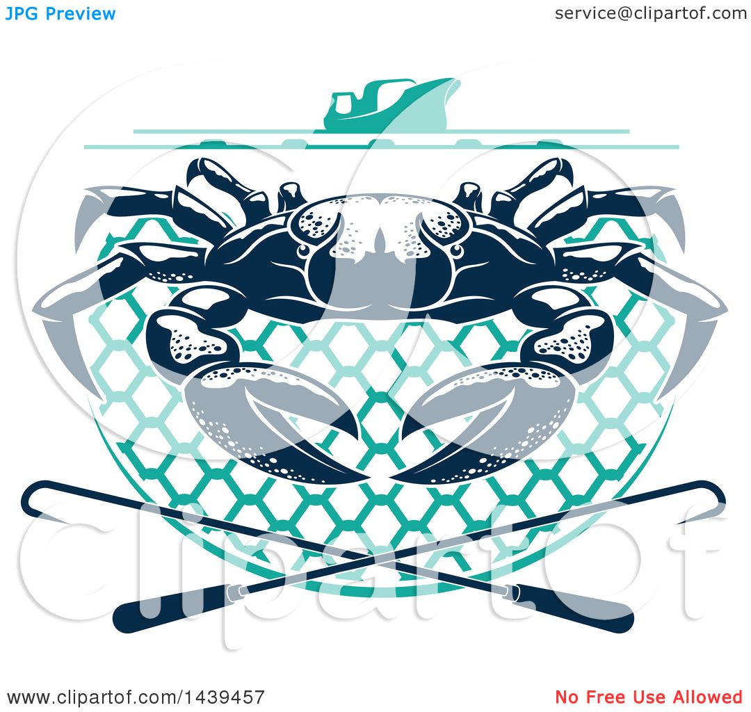 Clipart of a Navy Blue Crab on a Net, Under a Boat with Hooks ...