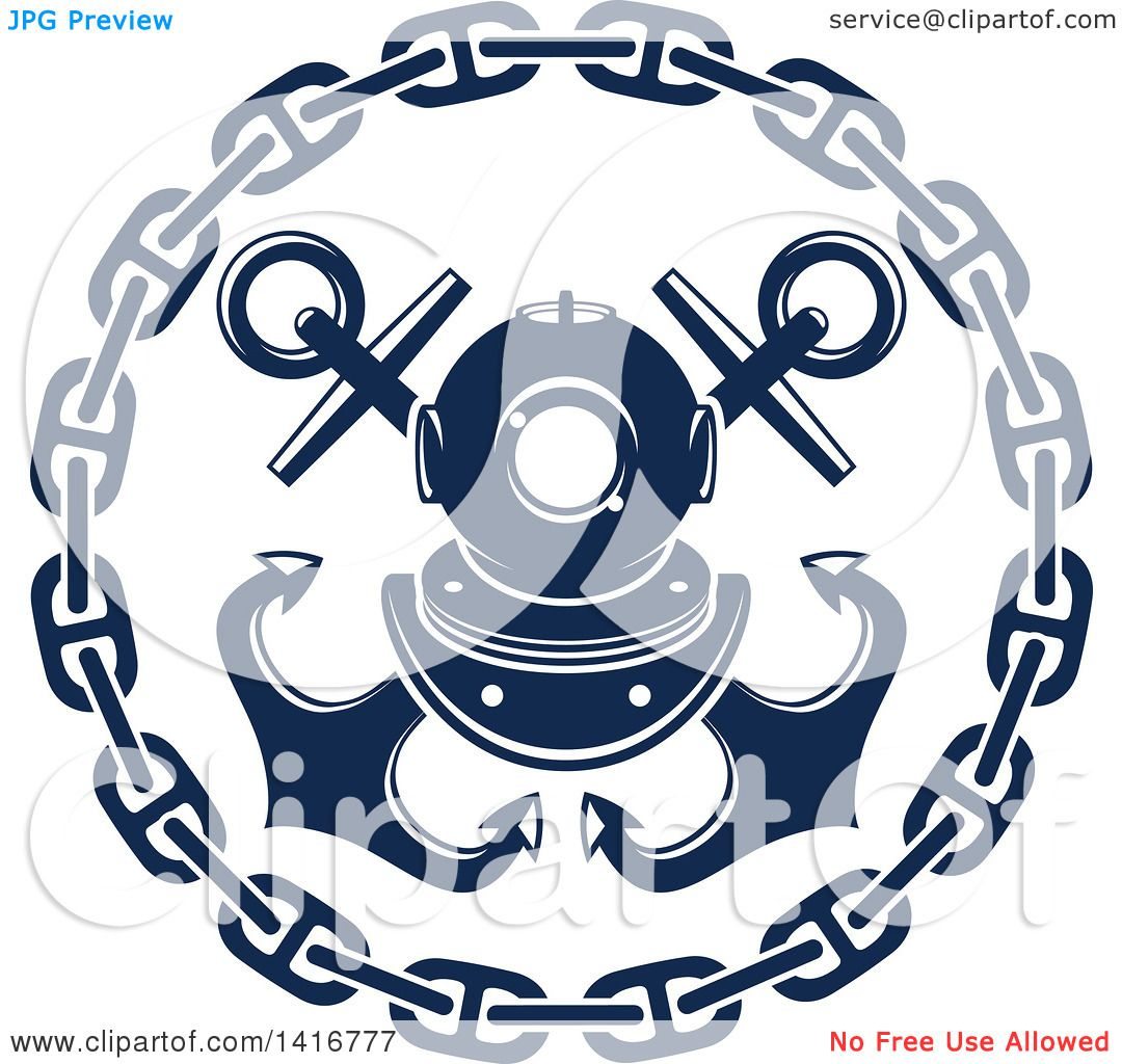 Clipart of a Navy Blue Crossed Nautical Anchors, Chain and ...