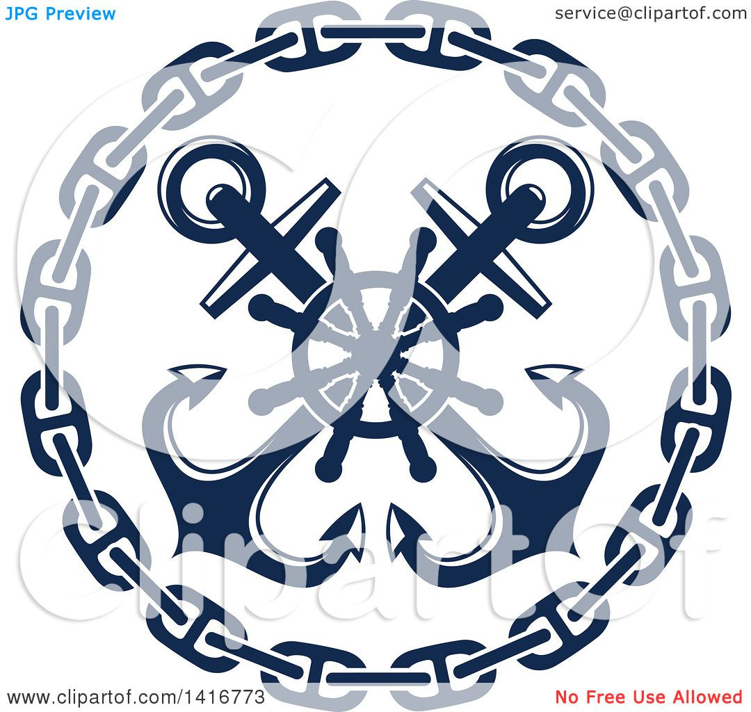 Clipart of a navy blue crossed nautical anchors chain and for Helm design