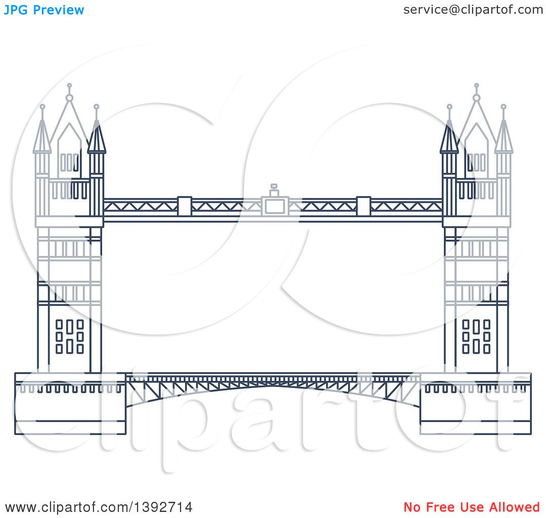 Clipart Of A Navy Blue Line Drawing Of A Travel Landmark Tower