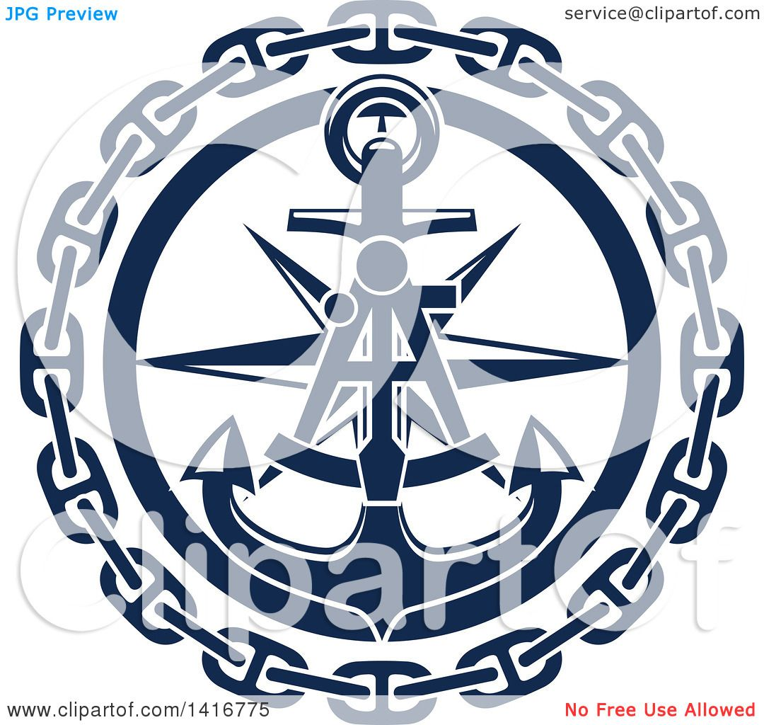 Clipart of a Navy Blue Nautical Sextant, Star, Chain and ...