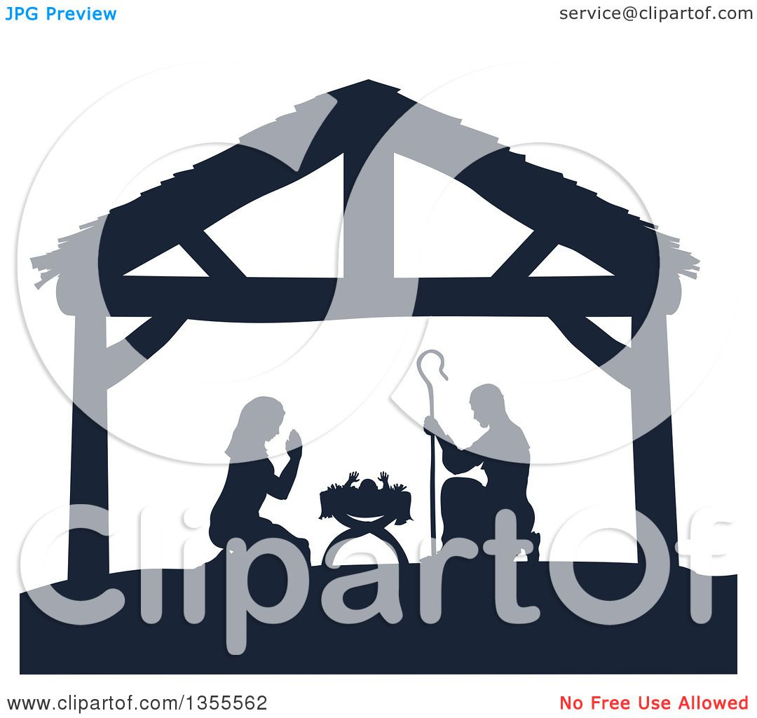 Clipart of a Navy Blue Silhouetted Mary and Joseph Praying over ...