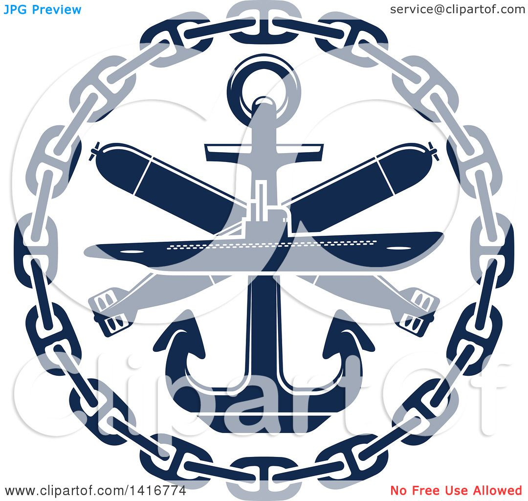 Clipart Of A Navy Blue Submarine Torpedo And Nautical