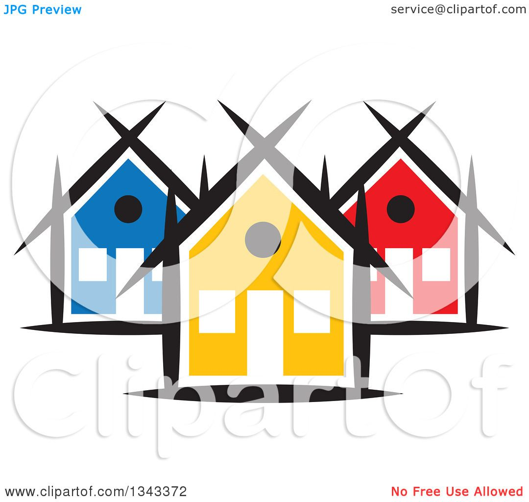 clipart of a neighborhood of colorful houses 5 royalty free vector rh clipartof com neighborhood clip art images clipart neighborhood map