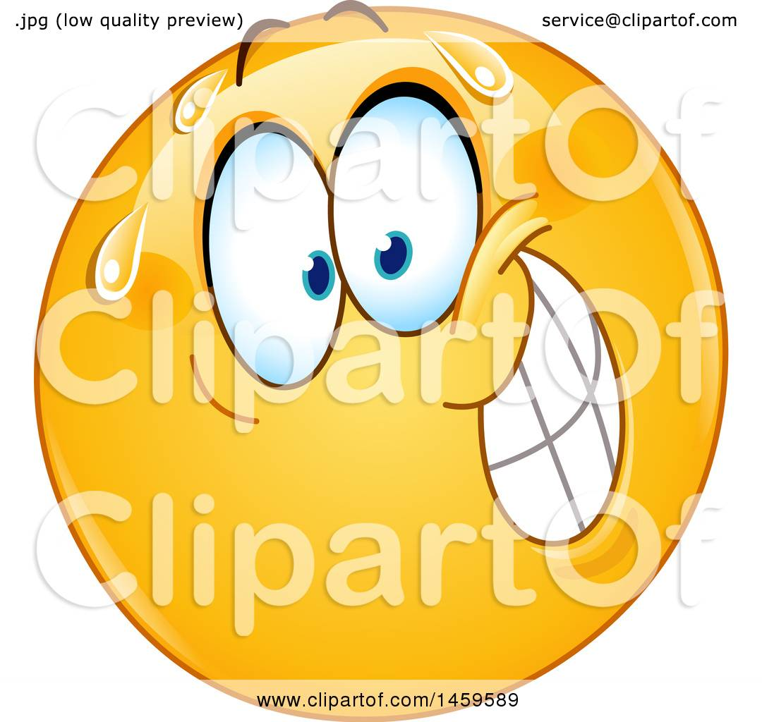 Clipart of a Nervous Yellow Emoji Smiley Face - Royalty Free Vector