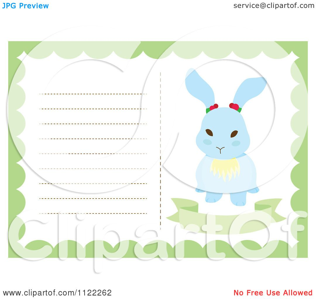 Clipart Of A Newborn Baby Frame With A Cute Bunny - Royalty Free ...