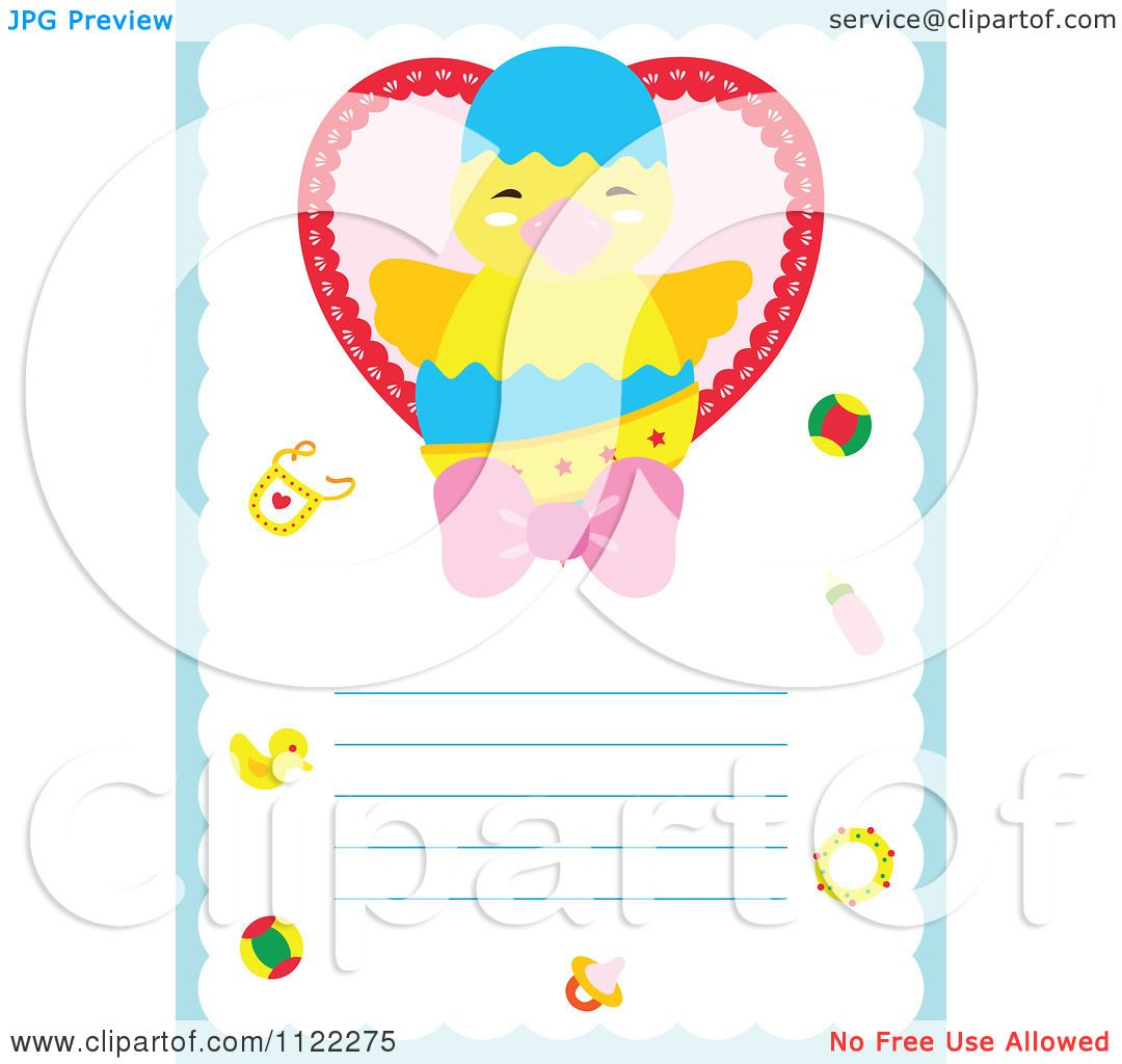 Clipart Of A Newborn Baby Frame With A Cute Chick - Royalty Free ...