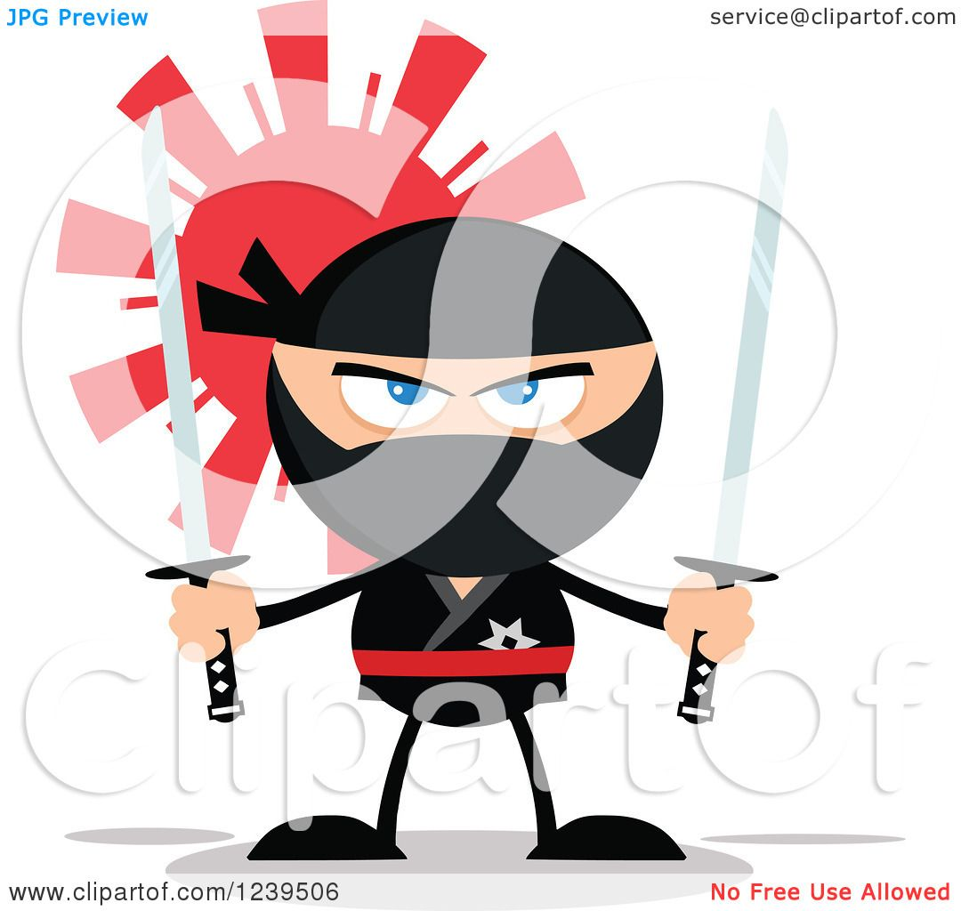 Clipart of a Ninja Warrior Ready to Fight with Two Katana ...