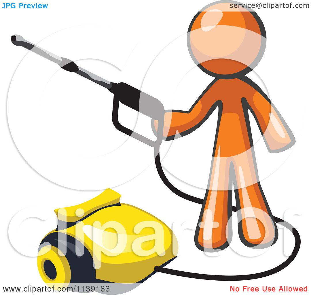 Clipart Of A Orange Man Operating A Pressure Washer ...