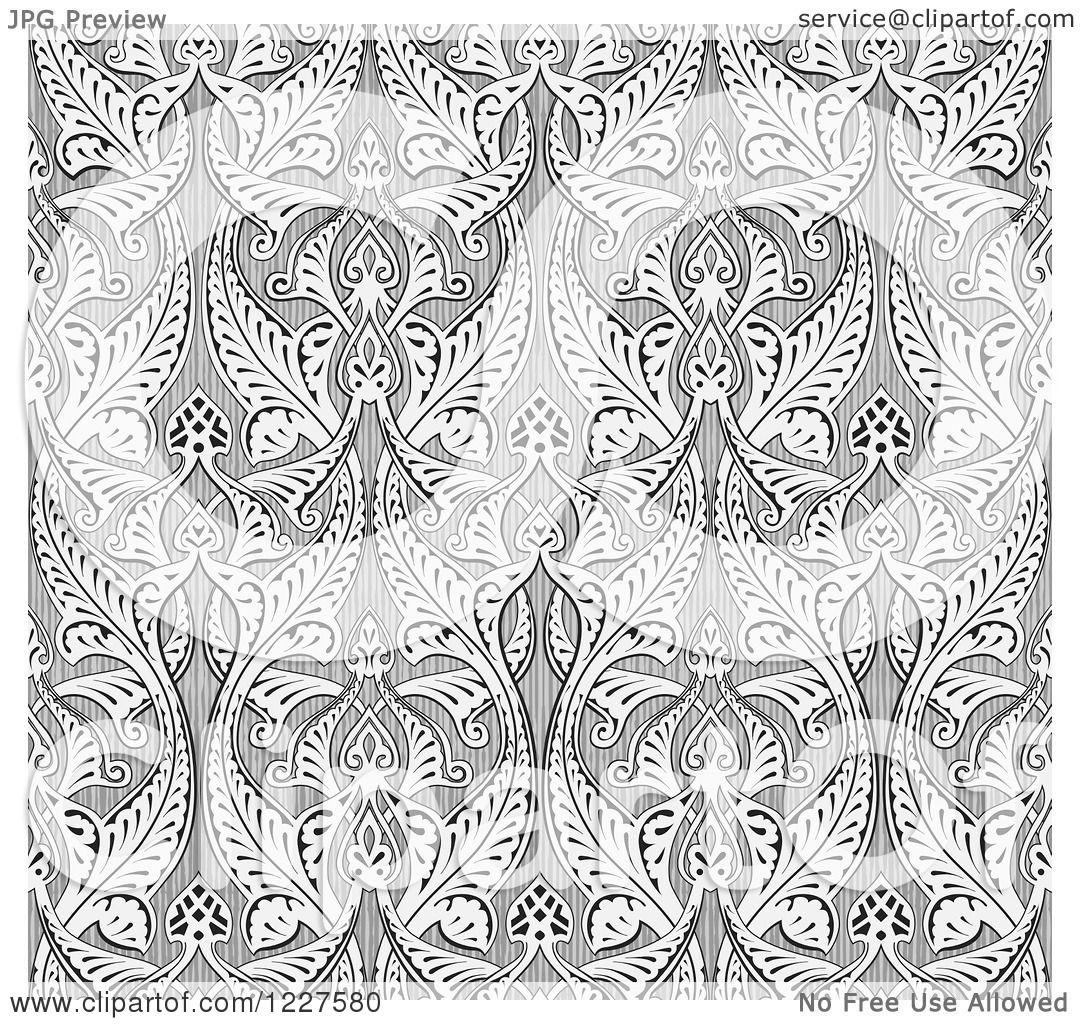 Clipart Of A Ornate Gray Seamless Islamic Pattern