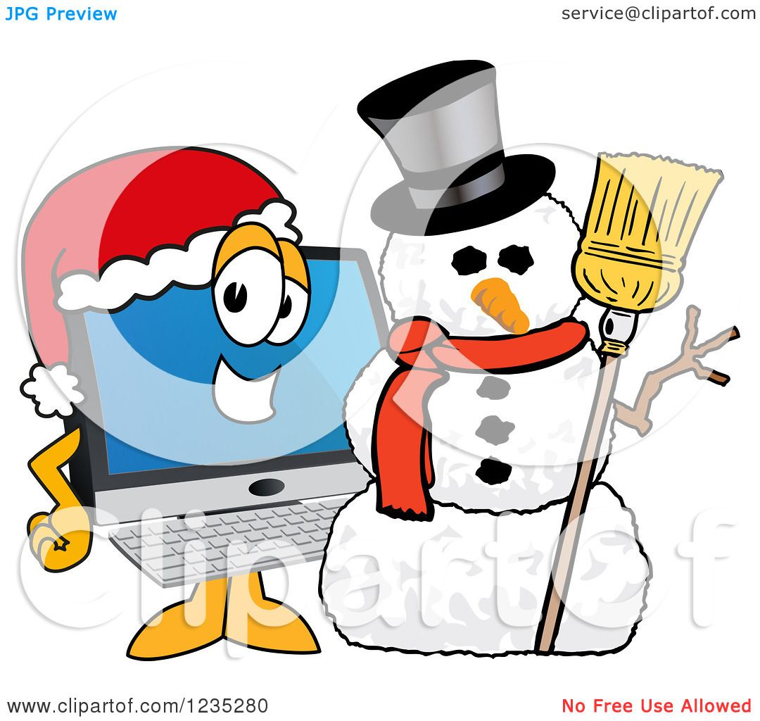 Clipart of a PC Computer Mascot by a Christmas Snowman - Royalty ...