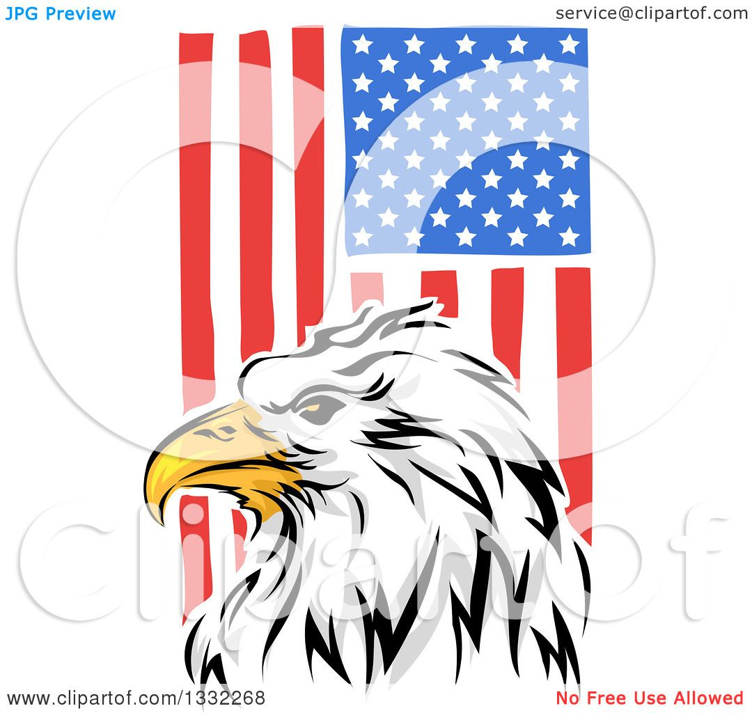 Clipart Of A Painted Bald Eagle Head Over A Vertical American Flag Royalty Free Vector Illustration By Bnp Design Studio 1332268