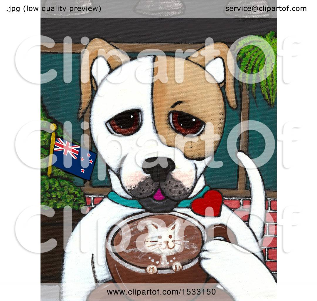 Clipart of a Painting of a Dog Drinking a Coffee with a ...
