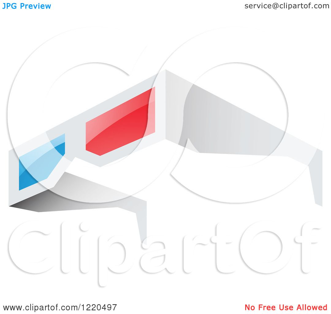 Clipart of a Pair of 3d Glasses - Royalty Free Vector ...