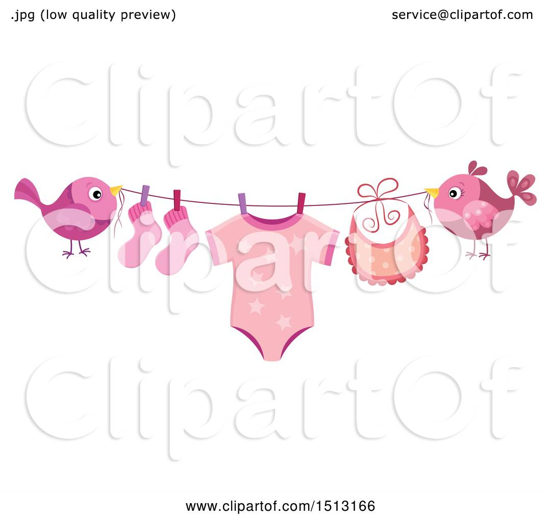 Clipart of a Pair of Birds Holding a Clothesline with a ...