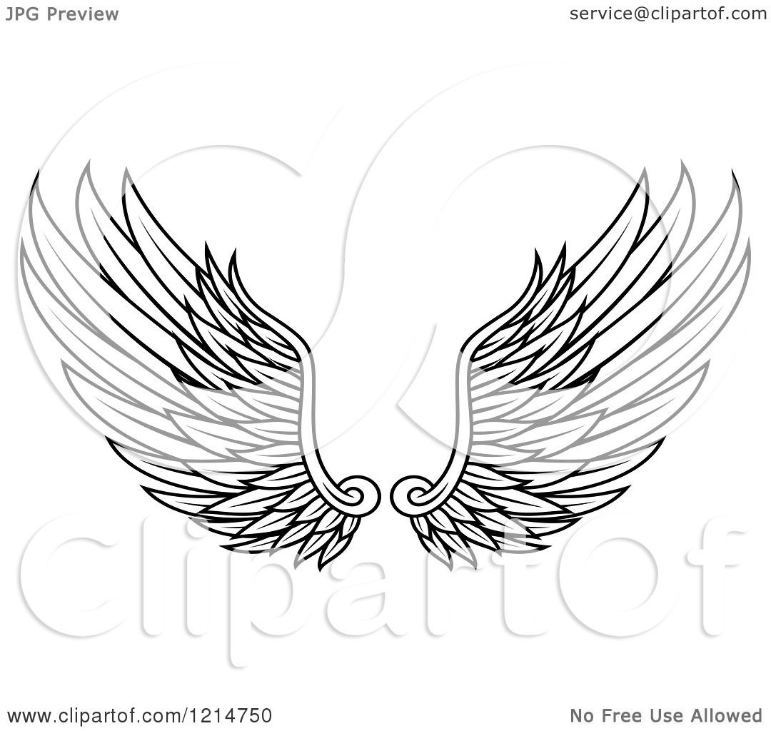 Clipart of a Pair of Black  Eagle Wings Clipart