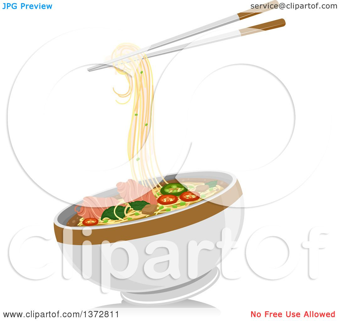 Clipart of a Pair of Chopsticks and a Bowl of Pho Noodles ...