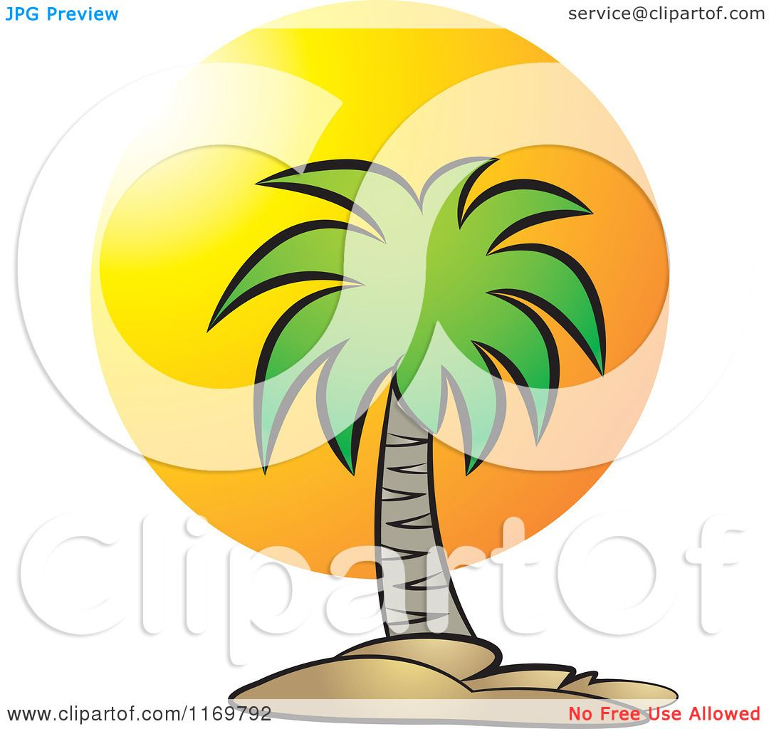 Clipart of a Palm Tree over a Sunset - Royalty Free Vector ...