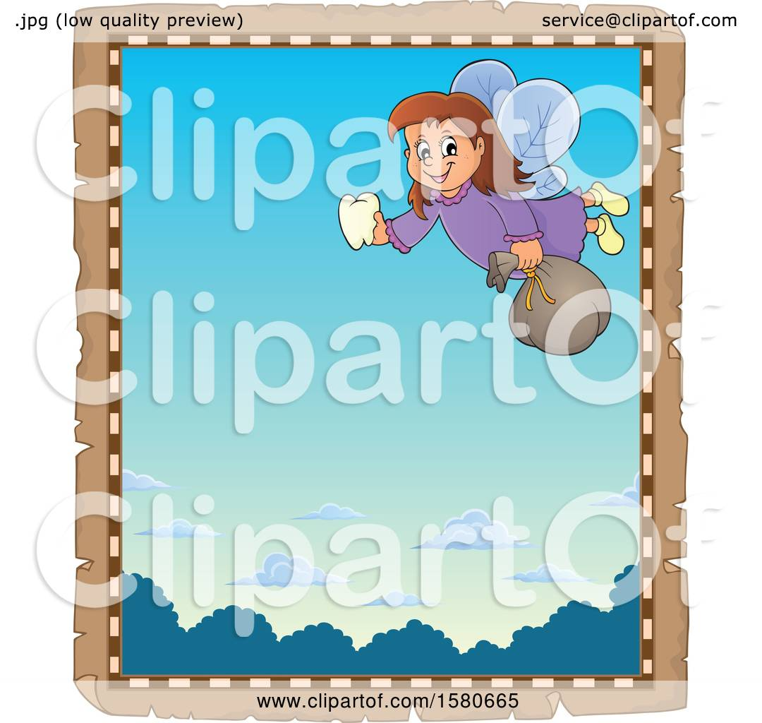 Clipart Of A Parchment Border Of A Tooth Fairy Flying Royalty Free