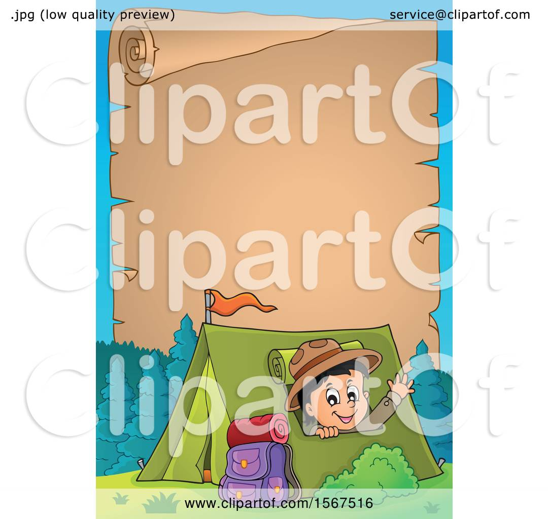 Clipart Of A Parchment Scroll Border Scout Boy Camping And Waving From Tent