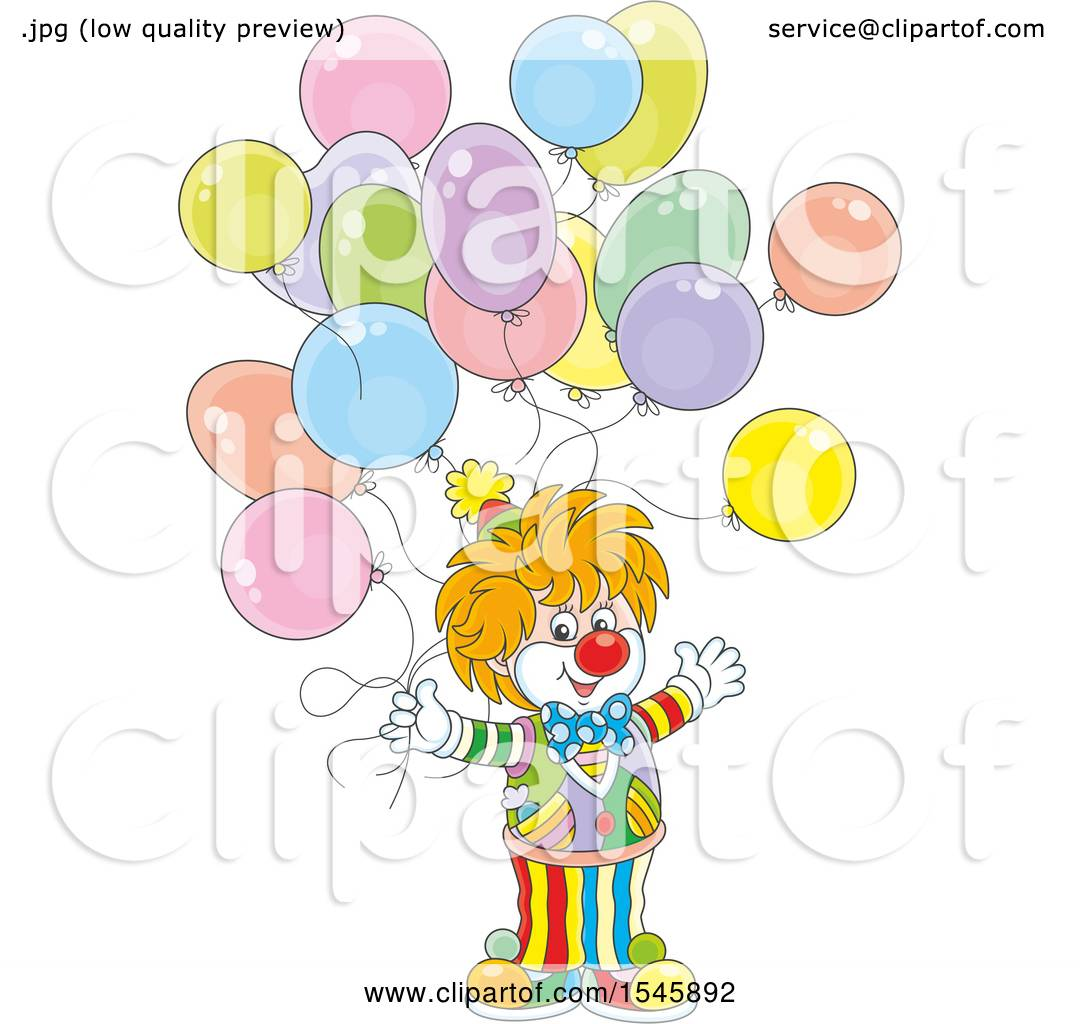 Clipart of a Party Clown with Birthday Balloons - Royalty Free ...