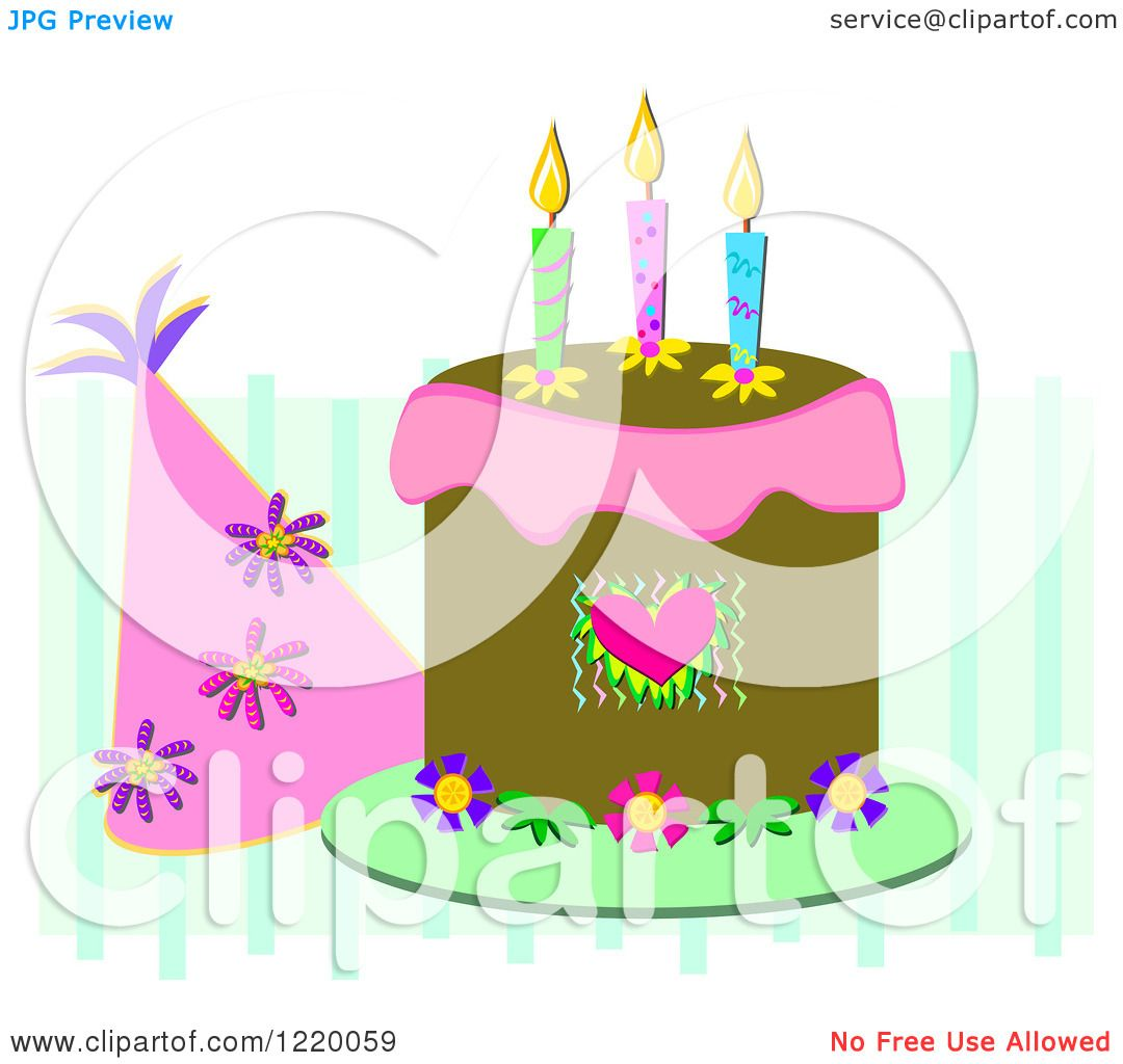 Clipart Of A Party Hat And Birthday Cake With Three Candles