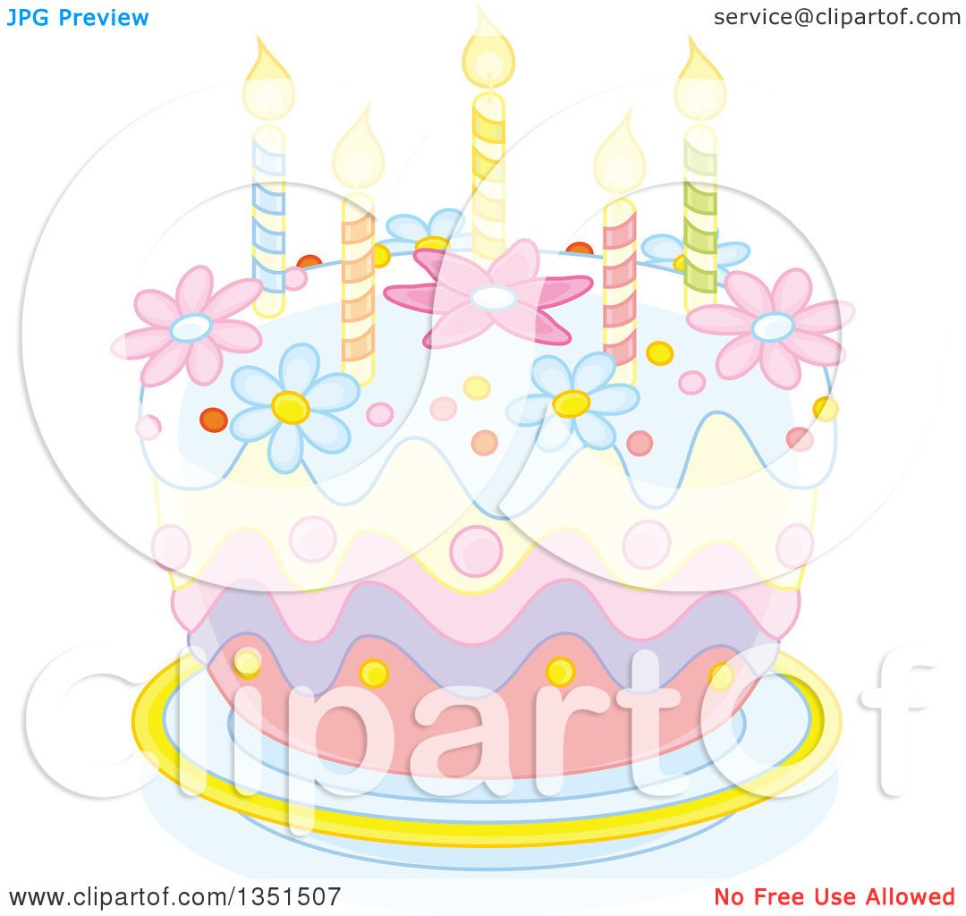 Clipart of a Pastel Birthday Cake with Candles and Flowers Royalty