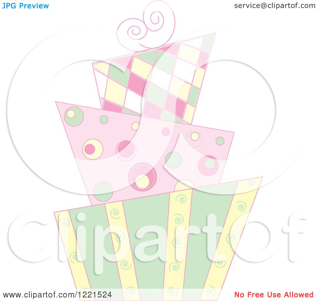 Clipart of a Pastel Modern Funky Patterned Wedding or