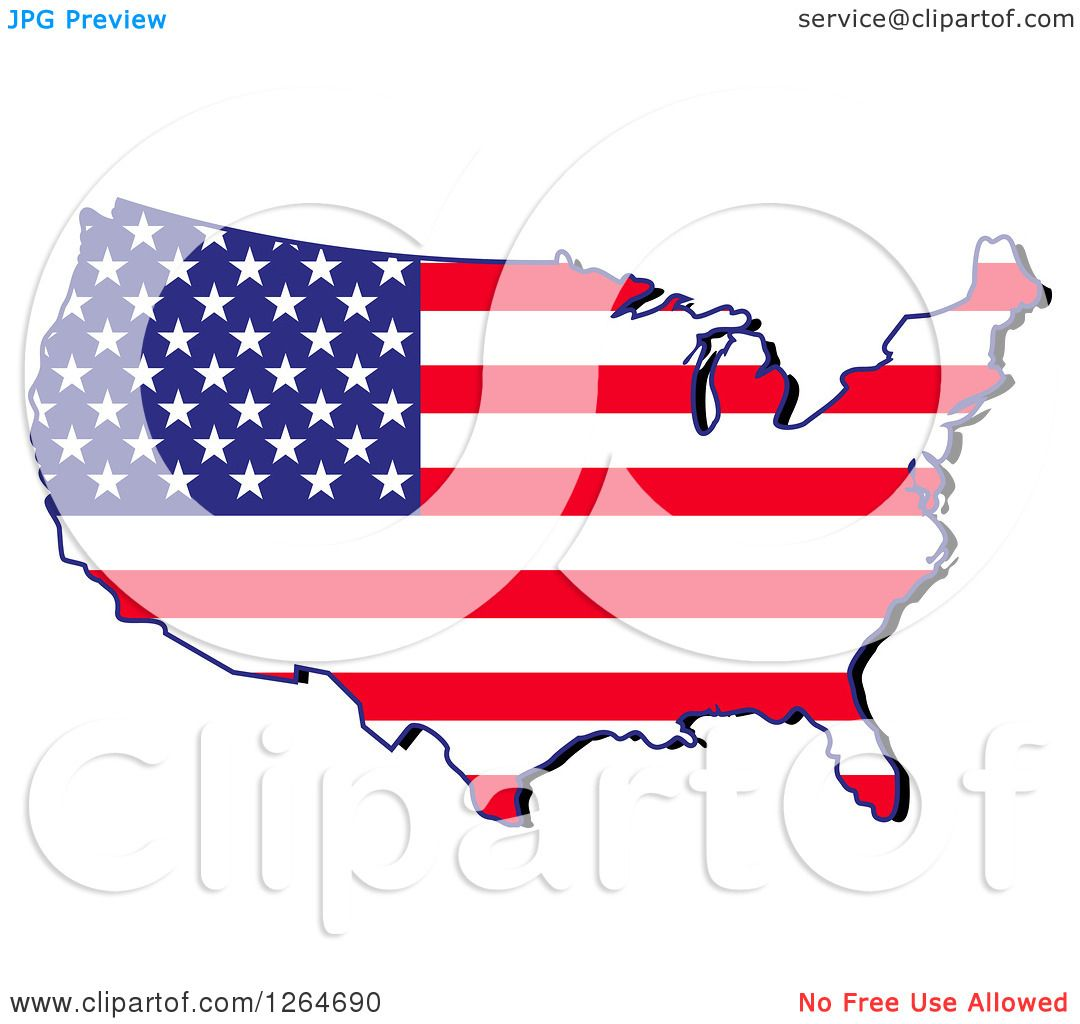 Clipart of a Patriotic American Stars and Stripes Map ...