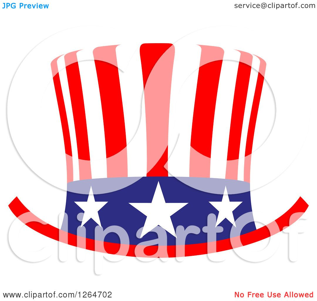 Clipart of a Patriotic American Stars and Stripes Top Hat ...
