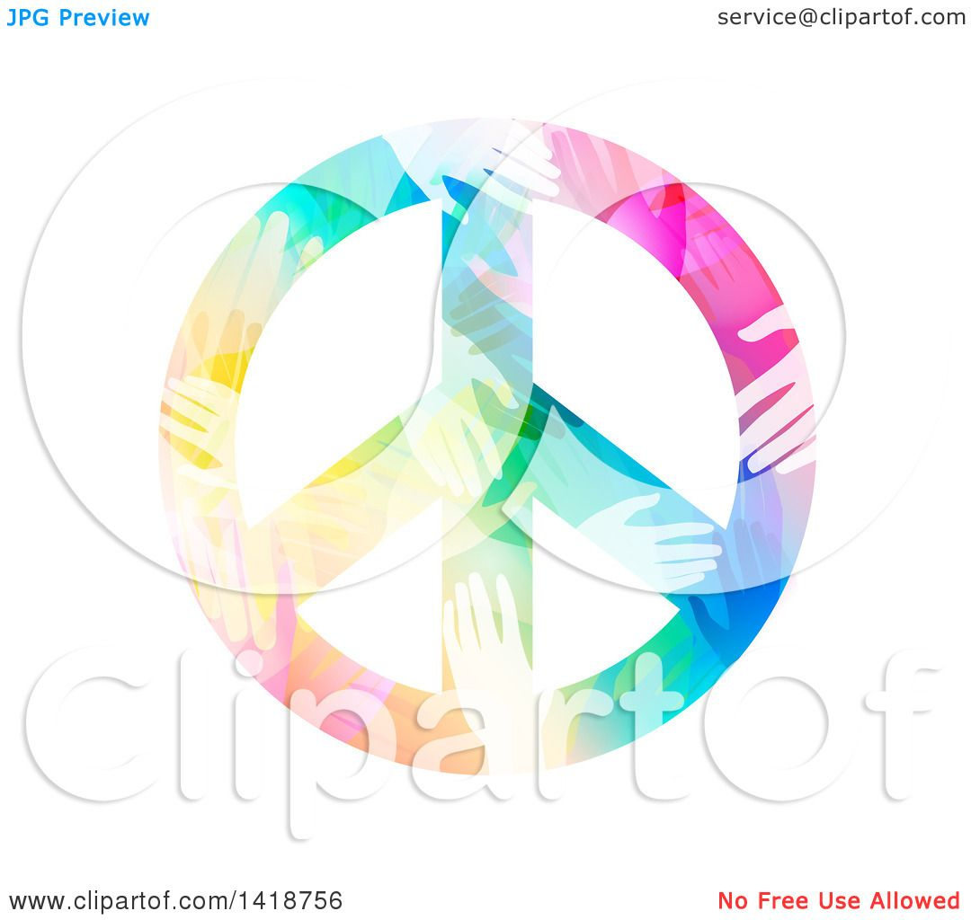 clipart of a peace symbol made of colorful hands royalty