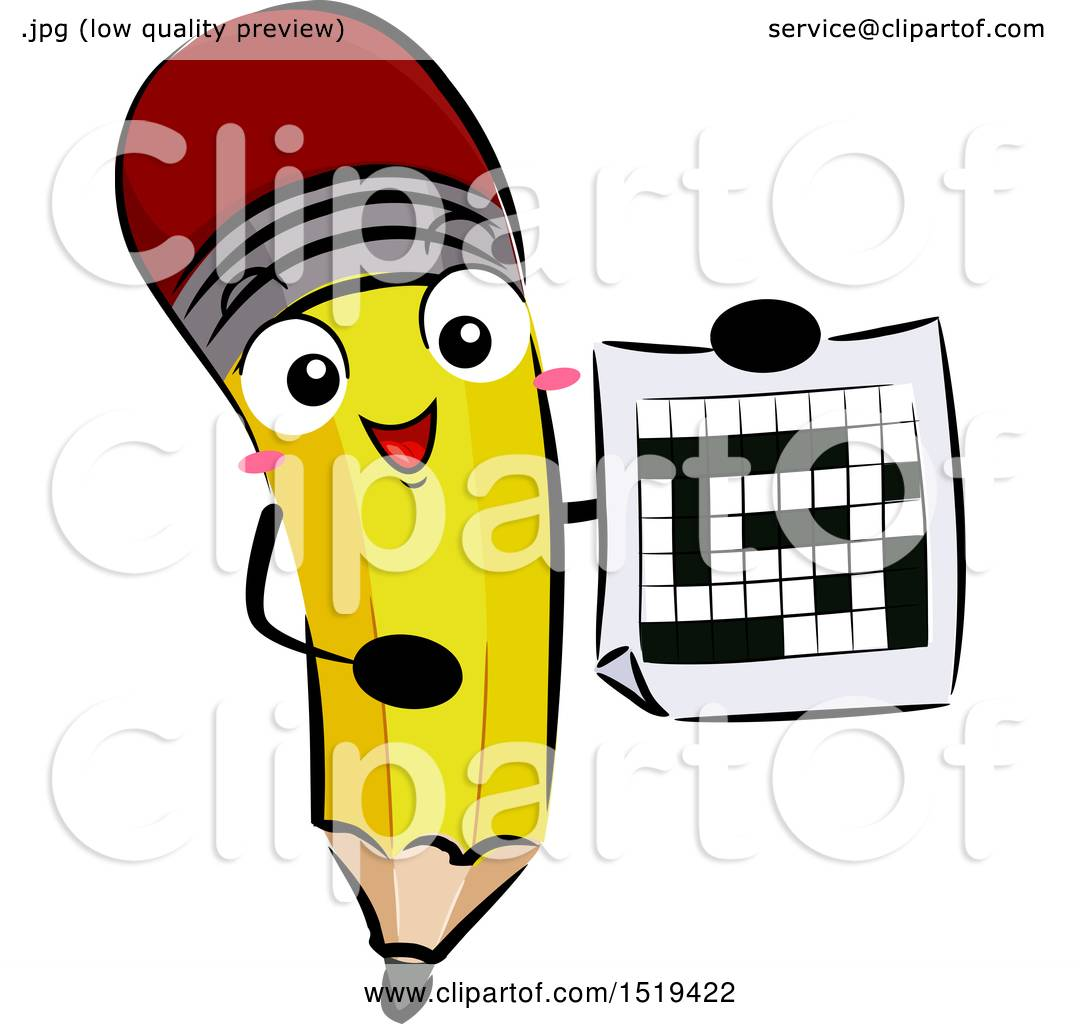 Clipart Of A Pencil Character Holding Crossword Puzzle