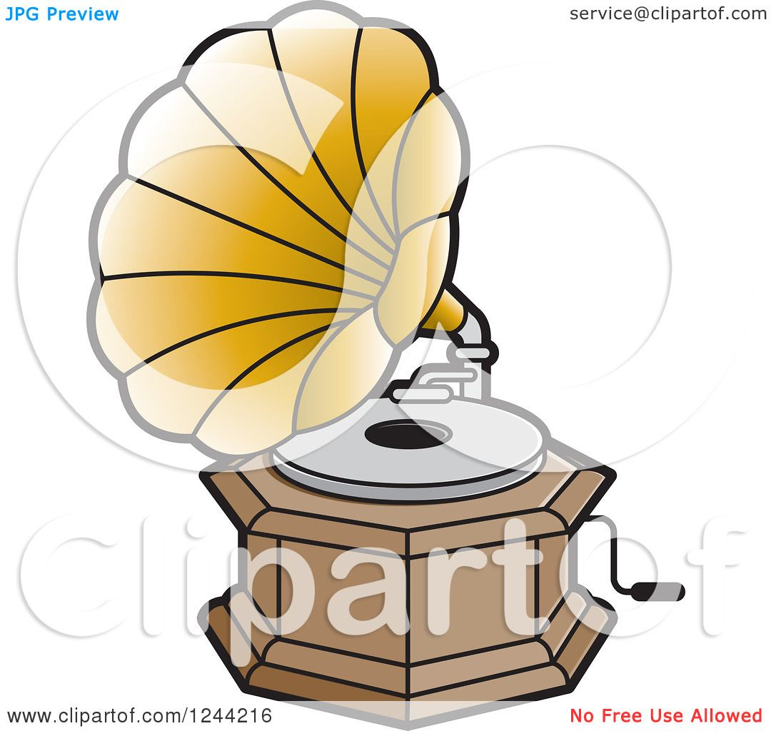 Clipart of a Phonograph Gramophone 4 - Royalty Free Vector ...