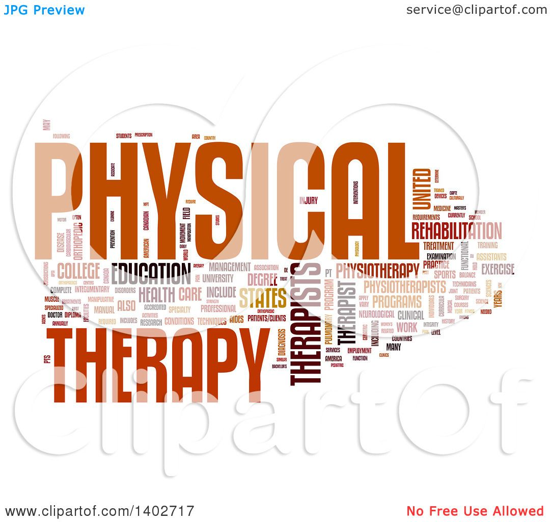 Clipart Of A Physical Therapy Tag Word Collage On White