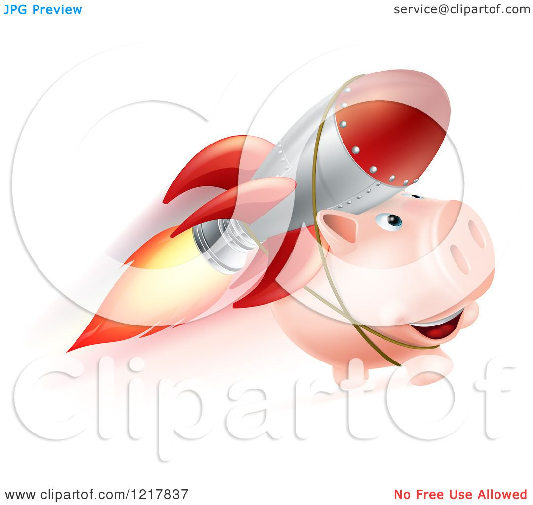 Clipart of a piggy bank flying with a rocket strapped to its back royalty free vector - Rocket piggy bank ...