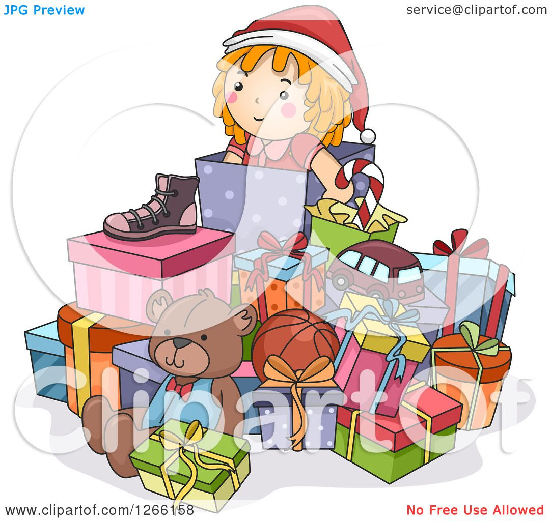 Clipart of a Pile of Christmas Toys and Gifts - Royalty ...