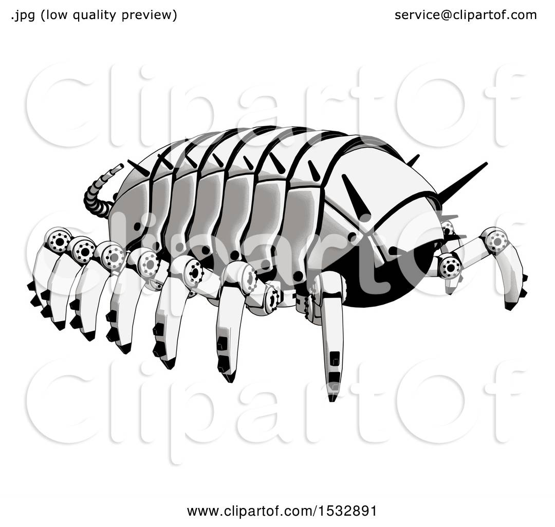 Clipart of a Pillbug Robot Rear Angle View - Royalty Free ...