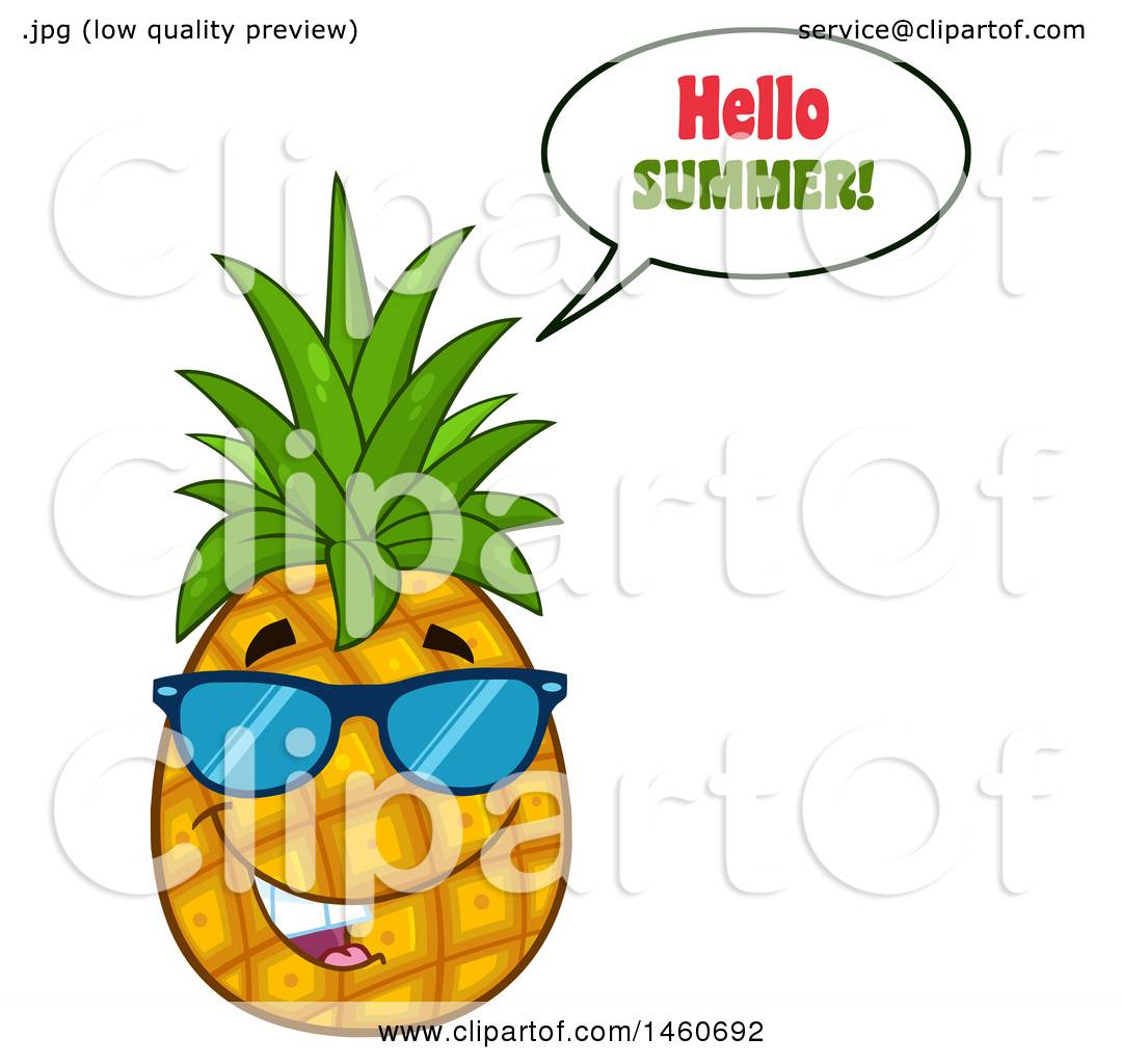 Charmant Clipart Of A Pineapple Mascot Wearing Sunglasses And Saying Hello Summer    Royalty Free Vector Illustration By Hit Toon