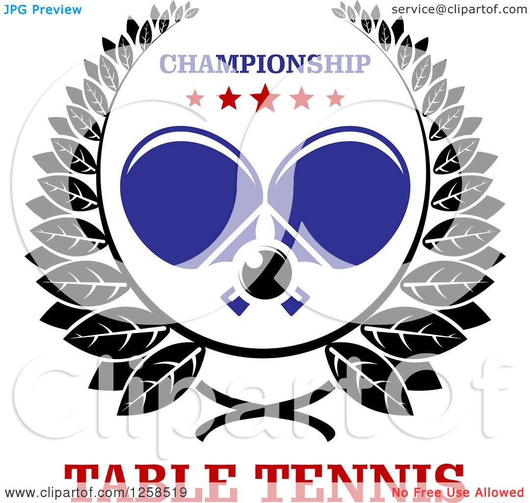Clipart of a Ping Pong Ball and Crossed Table Tennis ...